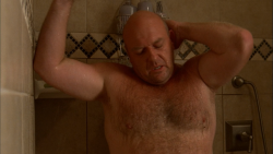 Breaking Bad's Hank Schrader, played by Dean Norris, shirtless/nude bear in the shower :) I think the first and last ones are my favorite.
