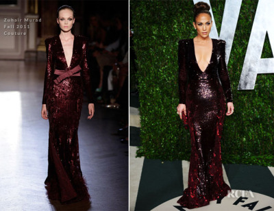 Jennifer Lopez in Zuhair Murad. Not surprised by the low V at all, but the deep shade suits her so well that I can't help but love this on her. I wasn't a fan of her Oscar dress at all, but this was a great change that you can't do anything else but stare ugh.