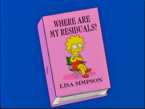 """Lisa writes a tell-all book about her experiences and how Homer would slip anti-growth hormones into her cereal, entitled ""Where Are My Residuals?"""
