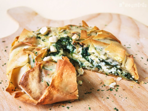 gastrogirl:  phyllo pie with spinach, goat cheese, and walnuts.