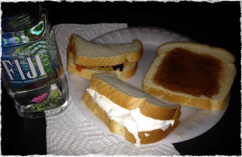 Yummy midnight snacks:  My grandma's favorite, Cool Whip Sandwich PB&J and toast with apple butter!!