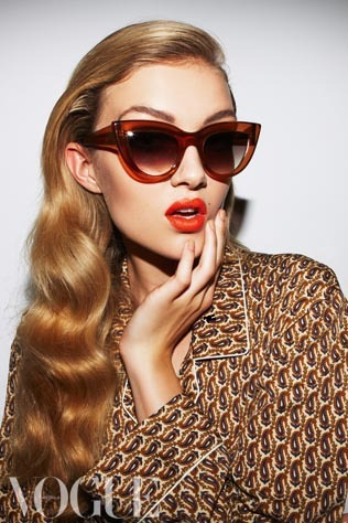 vogueaustralia:  Summer is not over yet. Find the season's best cat's-eye frames.  Ellery Et Graz sunglasses, $330. Silk blend pyjamas, $75 for set, from Ma Maison en Provence. Image by Nicole Bentley