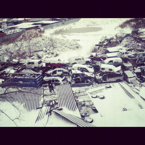 #car #junk #yard #snow #january #white #train #ipod #instagram #instagood #nyinstagram  (Taken with instagram)