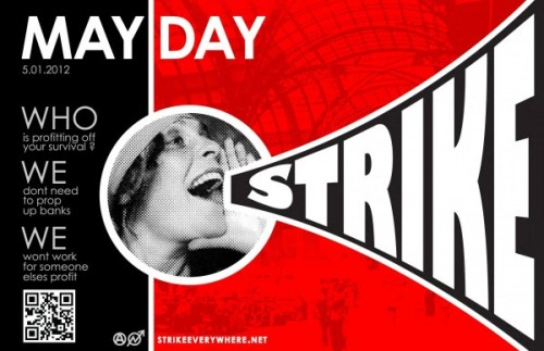 May Day Strike, 2012 I love it when my graphic design and socialist nerderies overlap - this is inspired by a classic poster by Alexander Rodchenko, a soviet artist during graphic design's growing up period (which soviet propaganda did a great deal to influence and move forward). This poster has been borrowed a lot already - but I'd argue that this is a more appropriate appropriation. IMPORTANT UPDATE! Rodchenko was a hottie, apparently.
