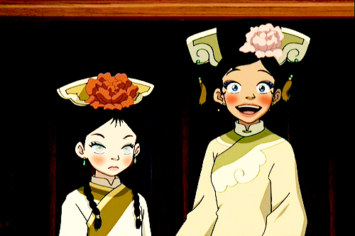 #katara's face when aang tells her she looks beautiful #she's beaming #meanwhile toph is like oh god they're at it again Always wondered what Katara would have replied back in Toph hadn't interrupted…