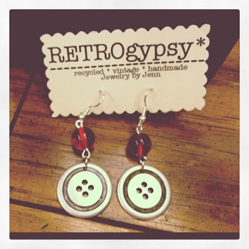 cute as a button earrings from retrogypsy! *$24 and Available at the Castro Store