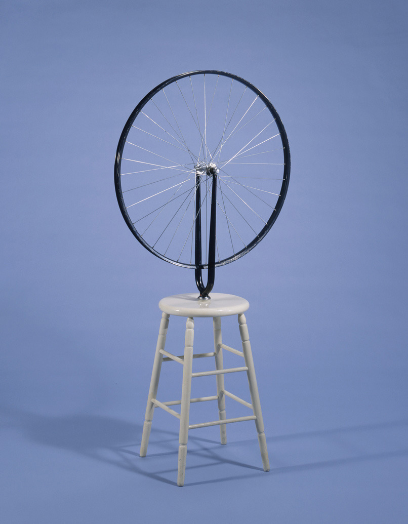 Marcel Duchamp - Bicycle Wheel, 1964 (fourth version, after lost original of 1913). Metal wheel mounted on painted wood stool