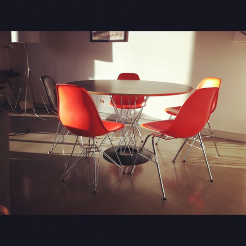 Noguchi Dining Table (Modernica) Finally copped my Noguchi dining table swag this past fall. I love the metal cyclone base detail and how it compliments the eames and modernica side chairs.