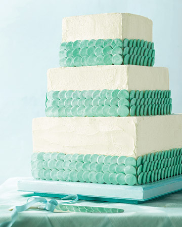 Sea Glass Colour Themed Wedding Cake
