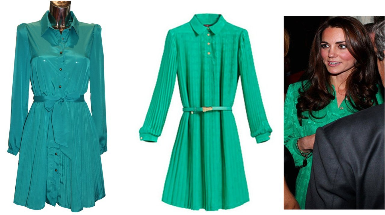 The dress we currently have in store, £35 (left). The green Mulberry dress Kate Middleton recently wore, £1400 (right).