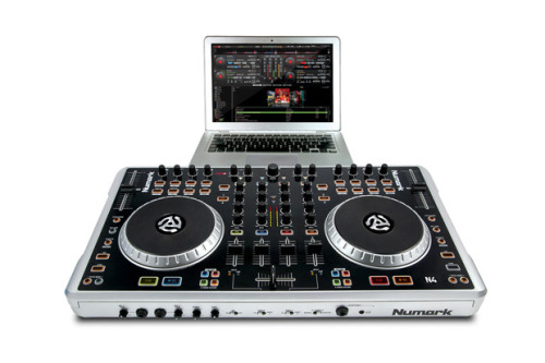 Numark 'N4′ DJ Controller.  Featuring four decks of software control plus a built-in mixer that can be used with or without a computer, N4 is designed for DJs who want powerful capability in a lightweight, portable package. N4 is a complete DJ controller that has everything you need to perform at your highest level: large, touch-sensitive platters, four decks of software control with loop and effects controls, a built-in USB audio interface and a comprehensive mixer section with EQ and gain controls. N4 comes with both Serato DJ Intro software and a four-deck version of Virtual DJ LE.
