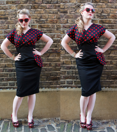 The Jezebel pencil dress (£89) here in black polyester satin with a red polka dot bust and side peplum, it also comes in various shades of duchess satin for an extra £10.