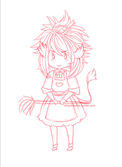 WIP for InkJink's Mascot Contest cant decide her colors =))))) kbye