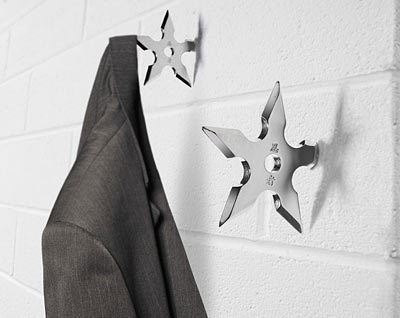 Ninja Coat Hook a must have for all ninja wannabies…these ninja star coat hangers are a cool way to hang your clothes at home and can be used on any wall surface. Buy Here