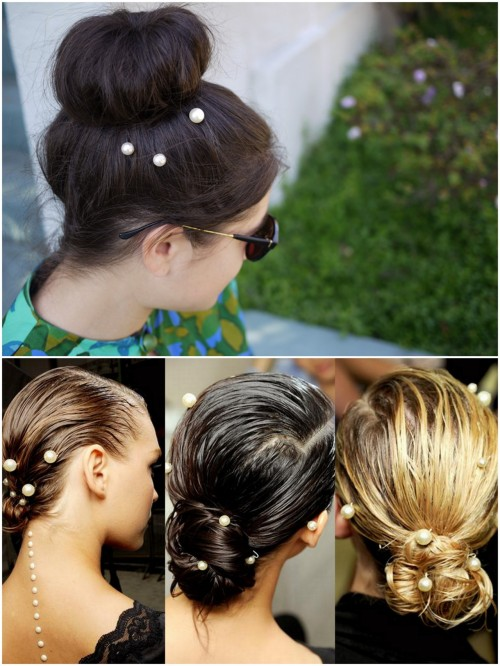 "truebluemeandyou:  DIY Pearl Hairpins Inpsired by Chanel's Spring 2012 Collection. Top Photo: DIY, Bottom Photo: social beauty here.  Tutorial at Honestly…WTF here. *I have posted another emellished bobby pin tutorial here. Also, Many of the Etsy sites are selling embellished bobby pins using ""Scunci No Slip Grip Bobby Pins""."