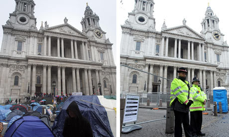 "inothernews:  BETRAYAL   The Occupy London camp outside St Paul's Cathedral in October 2011 and on Tuesday 28 February 2012.  London police began to evict protesters at 3 AM (London time) and wrapped up just one hour later; there were 20 arrests.  From the Guardian:  Shortly after 3am police removed around a dozen demonstrators  standing on kitchen shelving as a makeshift fortress as other riot  officers with shields advanced along the cathedral steps removing  protesters, some of whom were praying. Among those protesters was  Jonathan Bartley, director of the Christian thinktank Ekklesia, who  claimed he was kicked repeatedly by police and dragged away from the  cathedral. ""What happened is a great sadness – it is exactly as Giles Fraser warned might happen,"" he said. ""The  tragedy is that while Christians were praying on the steps of St Paul's  Cathedral, the cathedral gave permission for them to be forcibly and  violently removed. The cathedral has backed and colluded in this  eviction."" By 4am, no protesters or camping equipment remained in the square.  (Photo: Press Association via the Guardian)"