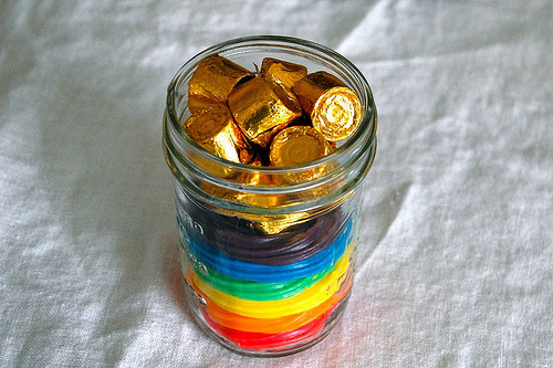 DIY Pot of Gold at the End of the Rainbow. Licorice and chocolate. For the tutorial and type of candy used go to JCasa Handmade here.
