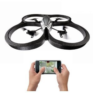 Remote Control Quadricopter This cool toy helicopter comes with 4 rotor blades that can be controlled  with your iPhone, iPad, or Android device. This neat quadricopter also  comes with a built in camera that relays back to your smart device, and  also a protective shell for indoor use. Cool! Buy Here