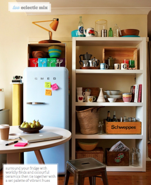 smeg fridge in a cute messy kitchen by bright bazaar