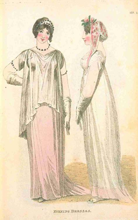 Fashions of London and Paris, Evening Dresses, May 1810. The dress on the left is interesting and unusual, and I love that…cap? on the girl on the right.