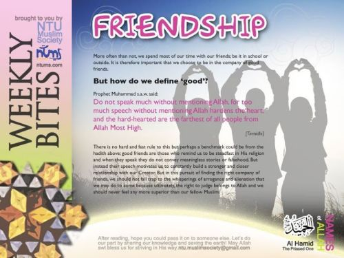 Assalamu'alaikum warahmatullah.This week's bite is on friendship. All of us are humans, and as humans, we need friends as support in our daily lives, but how do we go about surrounding ourselves with friends that are good for us? Read on more to find out!