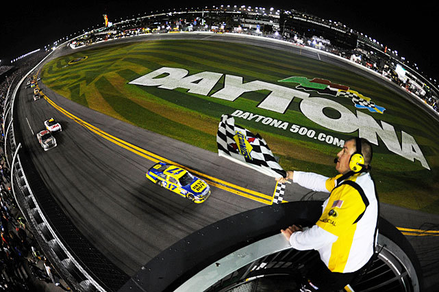 Matt Kenseth drives his No. 17 Best Buy Ford to victory at the Daytona 500 last night. The race, which had been postponed to Monday for the first time in its 54-year history, marked Kenseth's second victory at Daytona in four years. (Chris Graythen/Getty Images) MARTIN: Kenseth holds on to win a wild, unforgettable Daytona 500LONG: Handing out grades from the Daytona 500 | Photos from raceMARTIN: Danica receives crash course in Cup racing