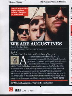 We Are Augustines were recently featured in Q Magazine with Rise Ye Sunken Ships receiving a four out of five star rating! Like We Are Augustines on Facebook Visit We Are Augustines Website See more from We Are Augustines on YouTube Follow We Are Augustines on Twitter
