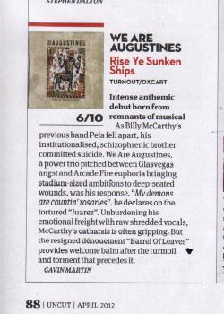 We Are Augustines featured in Uncut with a review of their debut album, Rise Ye Sunken Ships. Like We Are Augustines on Facebook Visit We Are Augustines Website See more from We Are Augustines on YouTube Follow We Are Augustines on Twitter