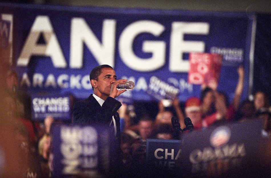 "Candid shot of President Barack Obama on the 2008 campaign trail (Roanoke, VA).  Remember this guy? I took this photo back in 2008 in Roanoke, VA. President Obama (well…he wasn't president quite yet) was making his way south and I was able to catch him in Roanoke, only a couple hours from my home in Greensboro, NC.  I really like this photo for a few reasons (in no particular order): - This was the first time I had ever entered an event as ""PRESS"". A big deal for me at the time, especially considering I was getting  front row seating during a political rally for a man who became our first black president. I felt like I was taking part in history. Bumping shoulders with big name press photographers was also a highlight for me. - I have the negatives for this day. When it's important (and even when it's not, haha), I shoot film. In this case, a few rolls of expired Fuji 800 Press film. - I took a lot of photos this day, but this one stands out to me because of the relaxed and casual nature of it. When I look at this photo I see a real person, not a political celebrity…not the soon-to-be leader of the free world…a real person. Politicians are so serious (wait until you see the photos I took of Senator John McCain), moments like this are what helps people like me really relate to a candidate. Some may say that Obama won the election because he won the people. I look forward to sharing more of my 2008 campaign photos, with the upcoming presidential election excitement is building in the United States…I think it's exciting to look back on 4 years ago! Shot with a Nikon F5 and 200mm f/2.8 lens on Fuji Press 800 film. © Andrew Pearson 2005-2012 www.aepearson.comwww.facebook.com/aepearsonphoto"