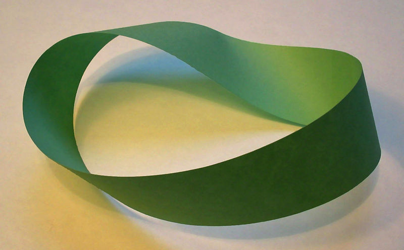 "Möbius Strip Journalism: def. Reporting on an event the meaning of which is determined by how the event is reported. Or… When the narrators speak of ""the narrative"" as something that goes of itself. Or… When there's no ""outside"" or ""inside"" to the story but just a continuous loop. Nate Silver: After Many Momentum Shifts, Michigan Too Close to Call  If Mr. Romney loses, you'll begin to hear questions asked like why Mr. Romney has had trouble closing out victories, whether his organizational strengths are overrated and whether voters are souring on Mr. Romney as they get to know him better — not to mention all the chatter about late-entry candidates and brokered conventions. None of these questions would necessarily lead you to the conclusion that Mr. Romney is likely to lose the nomination even if he loses Michigan. (If he also performs badly on Super Tuesday, you could make a more credible case for that.) The point is simply that there are narrative stakes, as well as delegates, on the line.  I love that concept of ""narrative stakes."" That is really juicy. I love the way it suggests that ""the narrative"" is itself a kind of actor in the race. Like the candidates, Mister Narrative has ""big,"" high-stakes moments, turning points, momentum… destiny! For more on that let's go to The Fix at the Washington Post. Victories in Michigan and Arizona would also come exactly one week before Super Tuesday, when 10 states hold either primaries or caucuses — by far the biggest delegate day of the race so far. With no debate scheduled before March 6… there's little to stop the narrative that Romney has righted the ship and is, once again, the clear favorite. That means momentum. The difference between reporting that there's nothing to stop the narrative that Romney has righted the ship and reporting that Romney has indeed righted the ship…. is thin, elusive. Like a möbius strip.  (Image by David Benbennick. Creative Commons License.)"