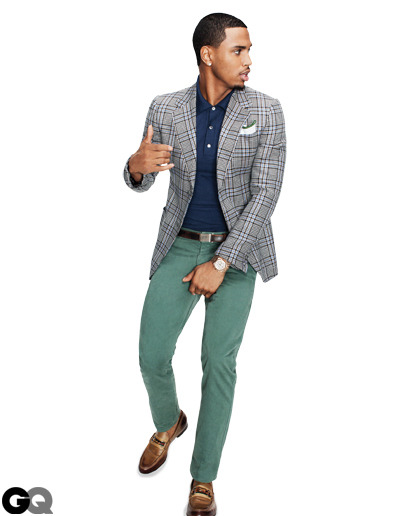 Trey Songz Spring 2012 GQ Magazine A dapper modern take on your Dad's sport-coat from yesteryear