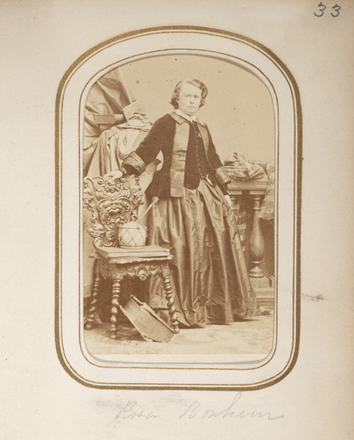 Portrait of artist Rosa Bonheur, from an album of 19th c. cartes de visite of famous artists in the collection of the Smithsonian American Art Museum and National Portrait Gallery Library. Bonheur was an animaliste, a painter and sculptor of animals, and one of the 19th century's most famous women artists.  She also received special permission from the police to wear trousers (!) in public to facilitate her study of animals.
