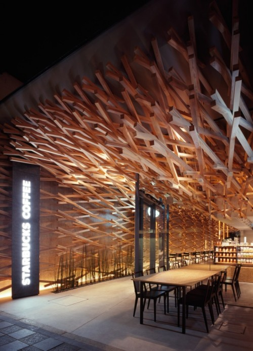 only in japan. starbucks in dazaifu|japan. kengo kuma & associates.