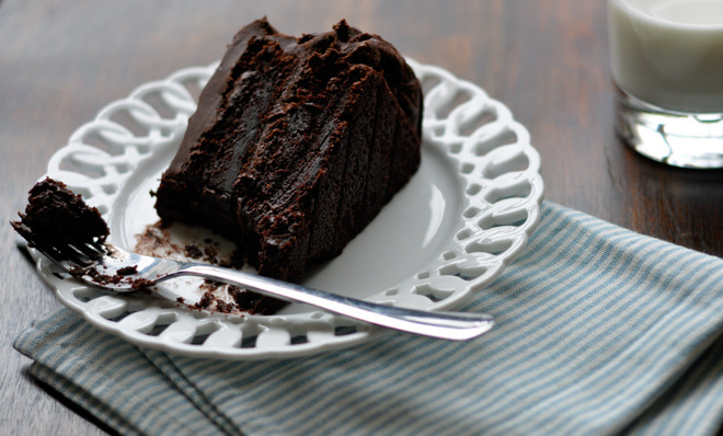 ontheoffbeat:  Moist Chocolate Cake <== click here for recipeI know what you're thinking. You're thinking c'mon it's JUST chocolate cake… but look at those darn pictures. Those aren't just just pics of choco cake, that right there is exquisitely moist… no no… WET & JUICY effing chocolate cake right thurr!  Oh, the chocolately deliciousness… These photos make me want cake so badly!!! (drools)