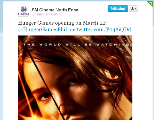 The Hunger Games to open on March 22 nationwide! It was previously announced that The Hunger Games will open on March 21 but now, SM Cinema just confirmed to us that the release date is now back to March 22 and SM Cinema North EDSA also tweeted us that The Hunger Games will open on the 22nd. However, there will be an advance screening on March 21. Astroplus will be having an advance screening on March 21 (SM Mall of Asia Premiere Cinema, 6pm-10pm) and HGP will be there to host the event! On how to get tickets, please visit their FB page