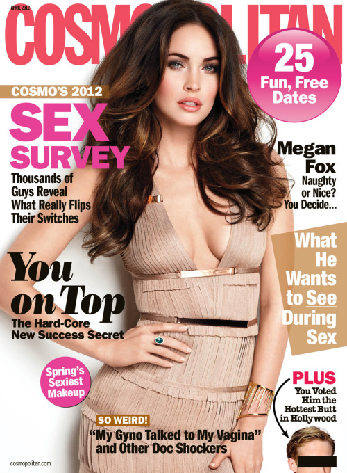 "Megan Fox is on the April cover of Cosmopolitan magazine and the actress opens up about her marriage and the public perception of her. On her tough-girl image: It's because I have tattoos and I say curse words, and apparently, that's crazy. I think maybe I give off this energy of seeming like I don't give a f—-, and that's misinterpreted. But I'm not wild. On first meeting now-husband Brian Austin Green: ""I didn't know who he was, since I was too young for ""Beverly Hills 90210."" But the first time I saw him, I got butterflies. And the first time he casually touched me? There was so much electricity.""  She continues: ""We've had obstacles, and we've overcome them. I truly feel like he's my soul mate. I don't want to sound corny or cliché, but I do believe we are destined to live this part of our lives together."""