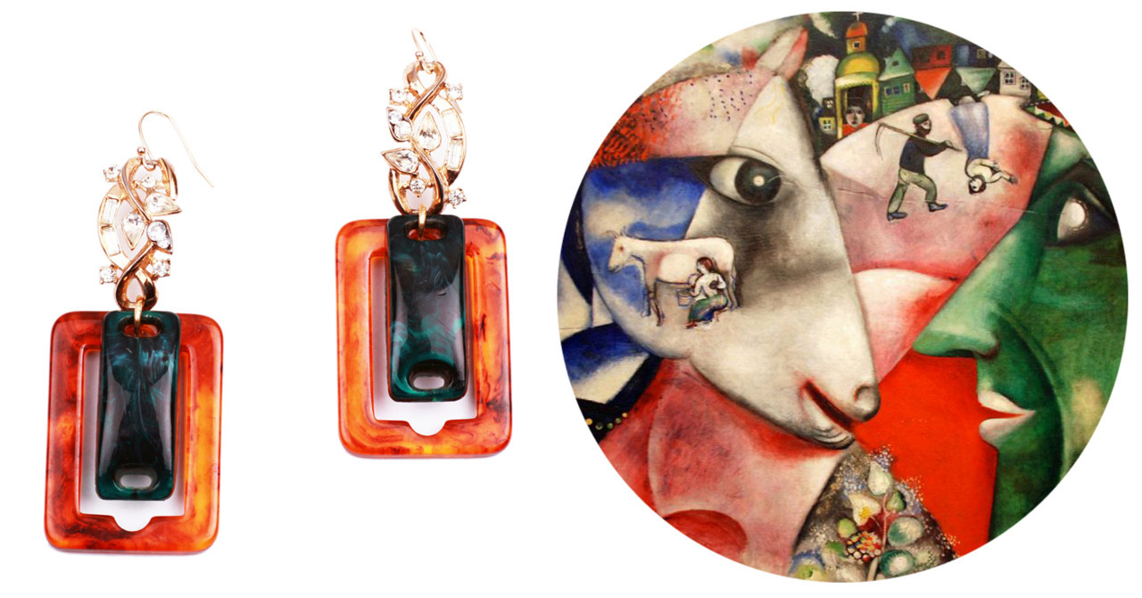 ART TO LIFE Lulu Frost 100 Year Earring | Marc Chagall I and the Village, 1911