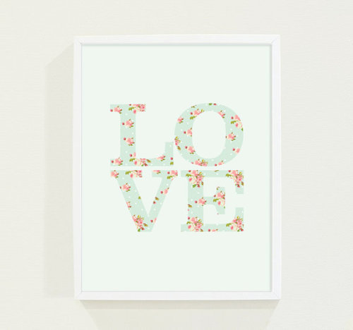 Baby Nursery Art in Mint Green Pastel - Love Poster available here!