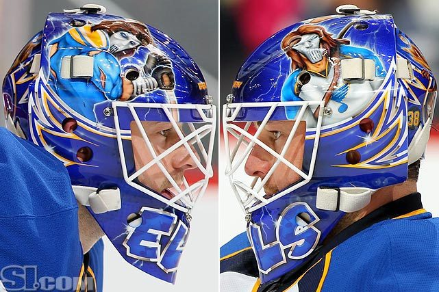 NHL goalie masks have become works of art, as Blues goalie Brian Elliot demonstrates in this photo. Click below for a gallery of every NHL team's goalie masks this season. (Christian Peterson, Doug Pensinger/Getty Images) GALLERY: NHL Goalie Masks By Team (2011-12)