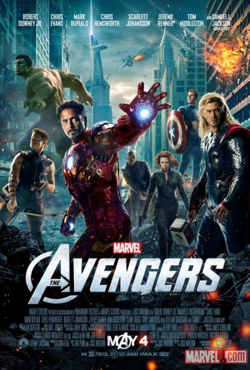 "The Avengers Assemble in New Movie Poster Earth's Mightiest Heroes fully assemble in this awesome new poster for ""Marvel's The Avengers,"" in theaters May 4!More on Marvel.com: http://marvel.com/news/story/18189/the_avengers_assemble_in_new_movie_poster#ixzz1nhOZnrJ7"