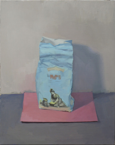 "hijaktaffairs:  love these new paintings michelle farro blue bag pink paper, 2012 oil/canvas, 16""x20"""