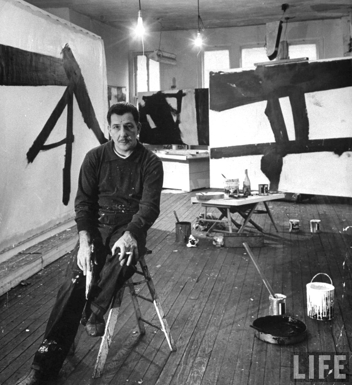 pav-love-ian:  Franz Kline - One of my heroes of Abstract Expressionalism. His version was primarily an abstraction of structures.  As you see the elegant I-beams in Mies' design (in the previous post), can you sense what Franz would do? Yes! I'll Copyright that thought, then hit the canvas. - Pav-LOVE-ian