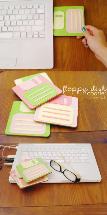 chiiiiingmakesthings:  Floppy disk coasters! Jump to the tute here.