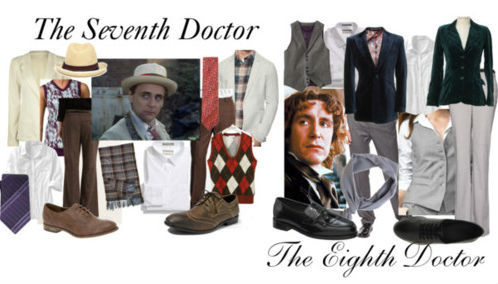 "The Seventh and Eighth Doctors from Classic Doctor Who for men and women STYLEKELLY knit top, $32Old Navy fitted shirt, $25Talbots lightweight vest, $49Vintage blazer, $29Boyfriend jacket, $40Vans sweater vest, £9.95Mango cropped pants, £30Oasis tweed pants, $50Bass low heels, $30Call it SPRING oxford shoes, $20Woolrich plaid scarve, $25American Apparel silk shawl, $14John Varvatos Star Usa Purple Plaid Silk Tie, $43Straw trilby hat, £6.95WILLIAM HUNT One Button Peaked Lapel Navy Velvet Jacket, £255Knit Blazer, $35Nordstrom Smartcare Trim Fit Dress Shirt White 16 - 32/33, $50Classic Career Pant, $34Nunn Bush Manning Leather Moccasin - Black, $50Black Brown 1826 Tweed Wool Pants, $40ALDO 'Caratauc' Wingtip Oxford, $50Nordstrom Smartcare™ 'Trim Fit' Pinstripe Dress Shirt, $32ITALO FERETTI Italo Ferretti retro flower pattern tie, £30""Jacamo"" Jacamo Waistcoat at Simply Be, $48"