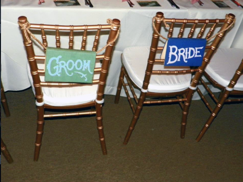 Bride and Groom signs for the back of their chairs