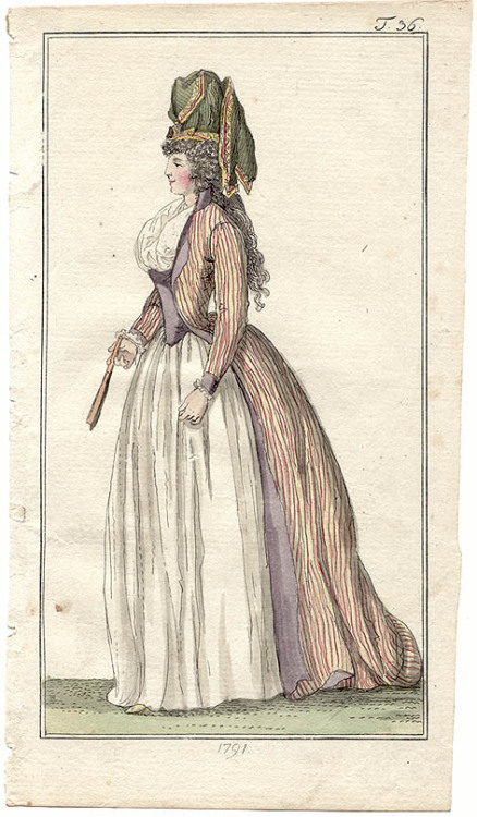 Journal des Luxus, 1791.  This gown makes me want to get down on my knees and pray to the patron saint of GIVE ME THOSE CLOTHES.