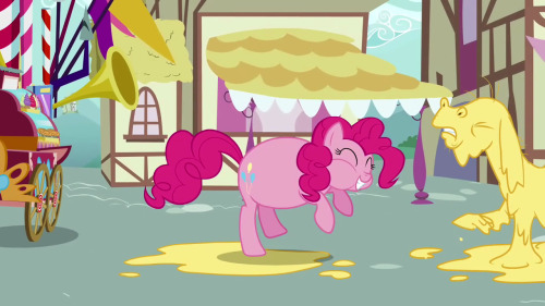 """And here we see a wild Pinkie Pie unhinge its jaw to swallow larger prey. Fascinating."""