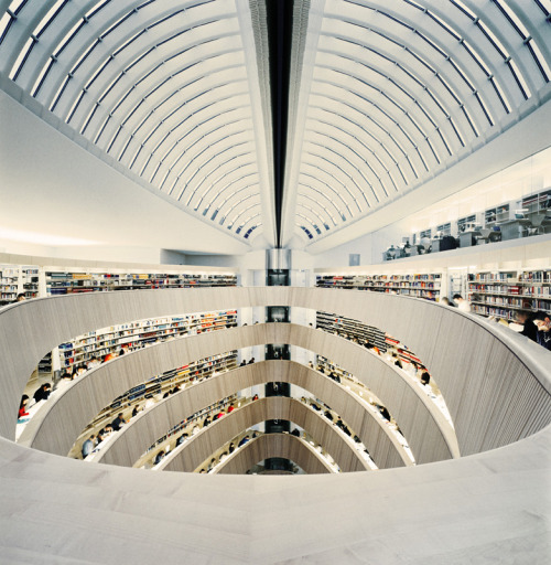 should go and check out this library :D shapenoid:  RWI Library, university of Zurich, Switzerland, by Santiago Calatrava. Photography by Benjamin Antony Monn.