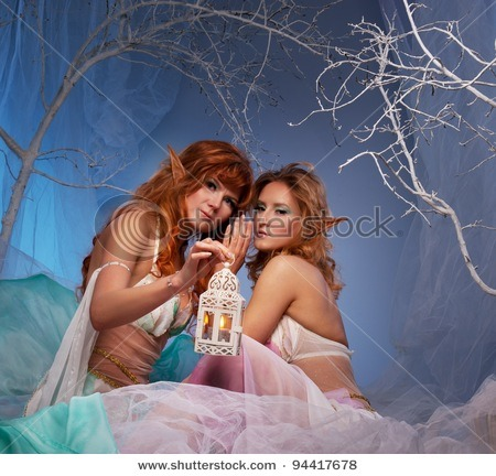 Title: Elves in magical winter forest with lantern. Searched for: braided candle