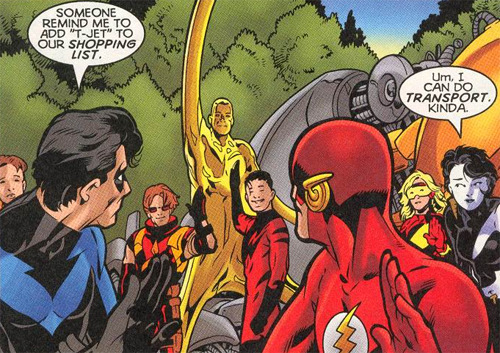 miss-mgann:  'Everyone who can't fly, please raise your hand' -The Titans v1 #2  Still my favorite run of anything ever.
